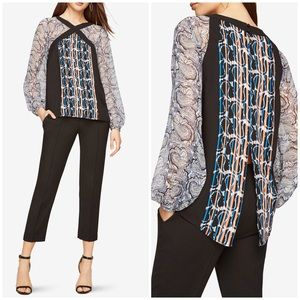 BCBGMaxAzria Print Blocked Blouse Long Sleeve